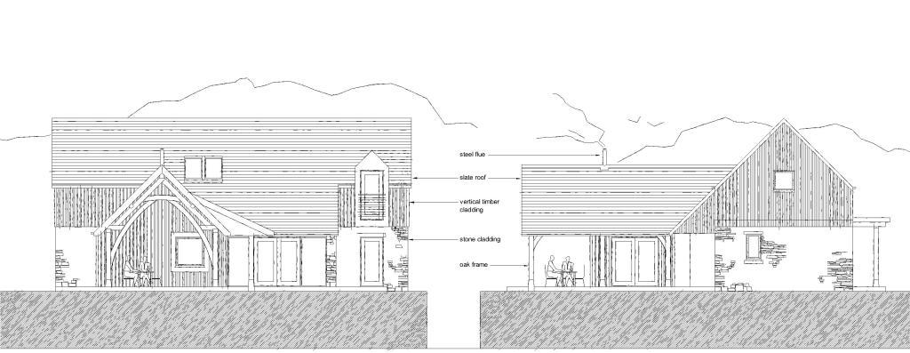 Pete cummins architect a new house in stirlingshire on the drawing board drawings below show the elevations which use stone timber cladding slate and oak framing to define malvernweather Image collections